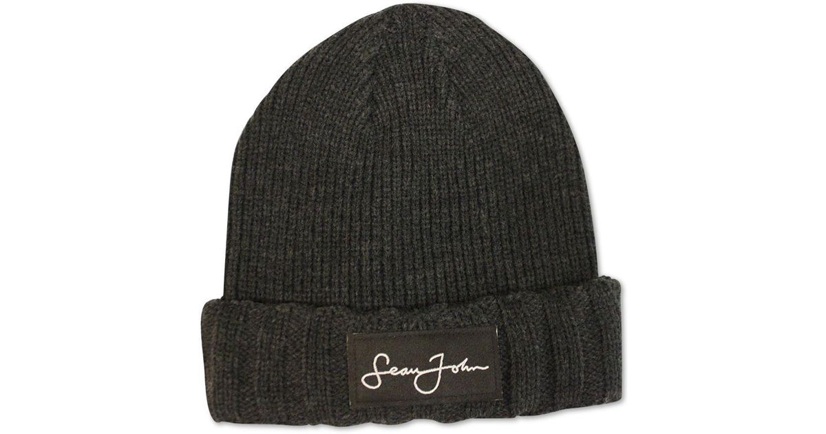 Lyst - Sean John Woven Label Double Roll Cuff Beanie 7dd09382e4f3