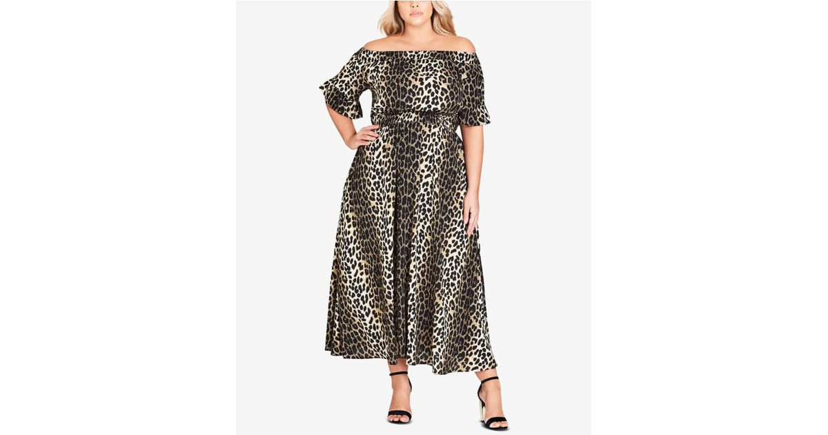 50c702755745 Lyst - City Chic Trendy Plus Size Animal-print Off-the-shoulder Maxi Dress  in Black