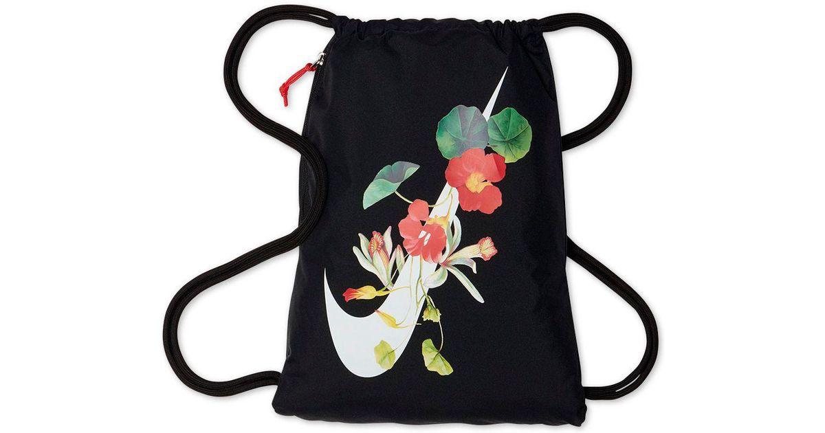 39e1717383eac Nike Ultra-femme Floral-logo Gym Sack in Black - Lyst