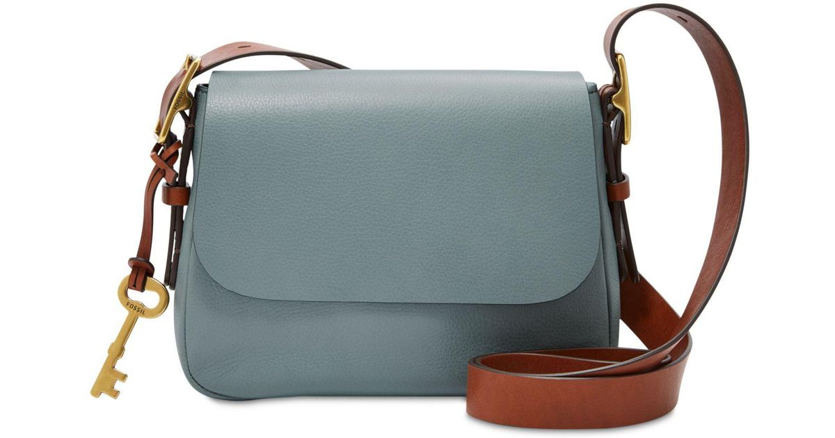 169bf34690fb Lyst - Fossil Harper Leather Small Crossbody in Blue