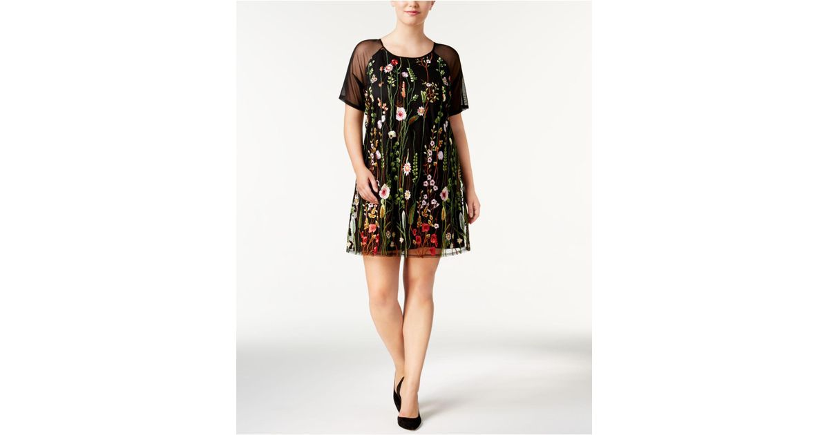 Say What? Black Trendy Plus Size Embroidered Illusion Dress