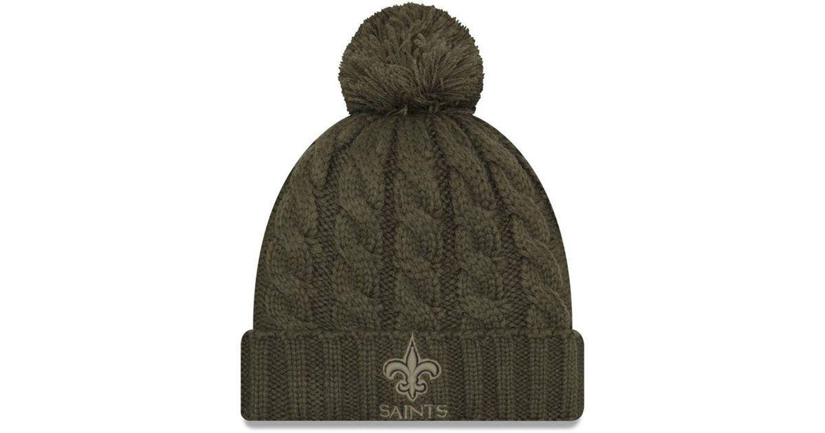 fbcba17b9 KTZ New Orleans Saints Salute To Service Pom Knit Hat in Green - Lyst