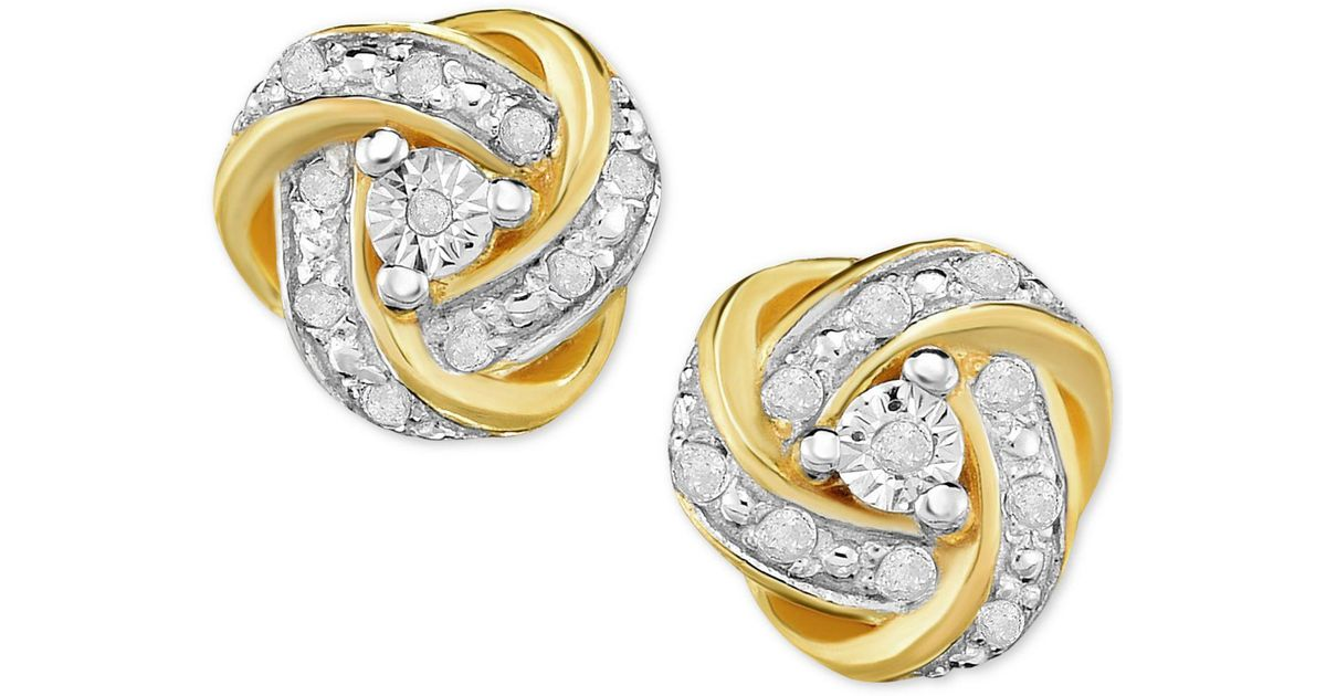 bbfc9746a7e Lyst - Macy s Diamond Love Knot Stud Earrings (1 4 Ct. T.w.) In 18k Gold-plated  Sterling Silver in Metallic
