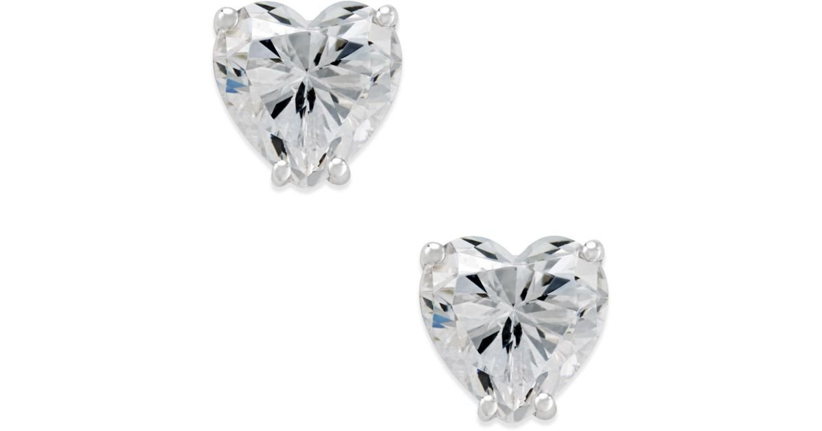 Lyst Arabella Swarovski Zirconia Heart Stud Earrings In 14k White Gold