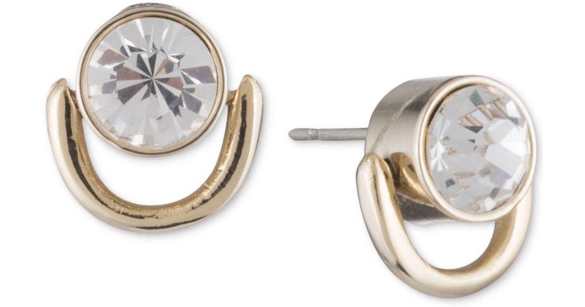 5e8d67cbc DKNY Gold-tone Crystal Ring Stud Earrings in Metallic - Lyst
