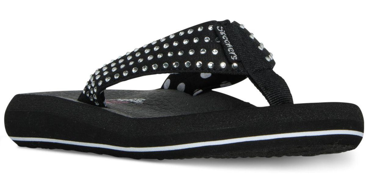 9fefb86c12d9 Lyst - Skechers Asana Flip-flop Thong Sandals From Finish Line in Black