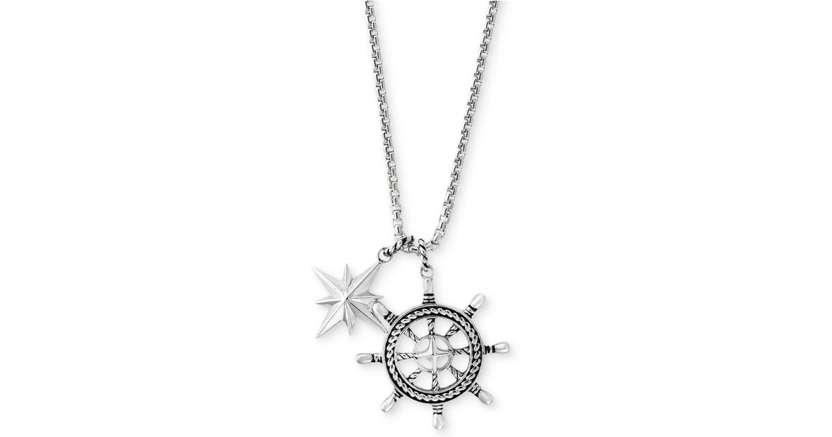 Lyst effy collection mens ships wheel and star pendant necklace lyst effy collection mens ships wheel and star pendant necklace in sterling silver in metallic aloadofball Images