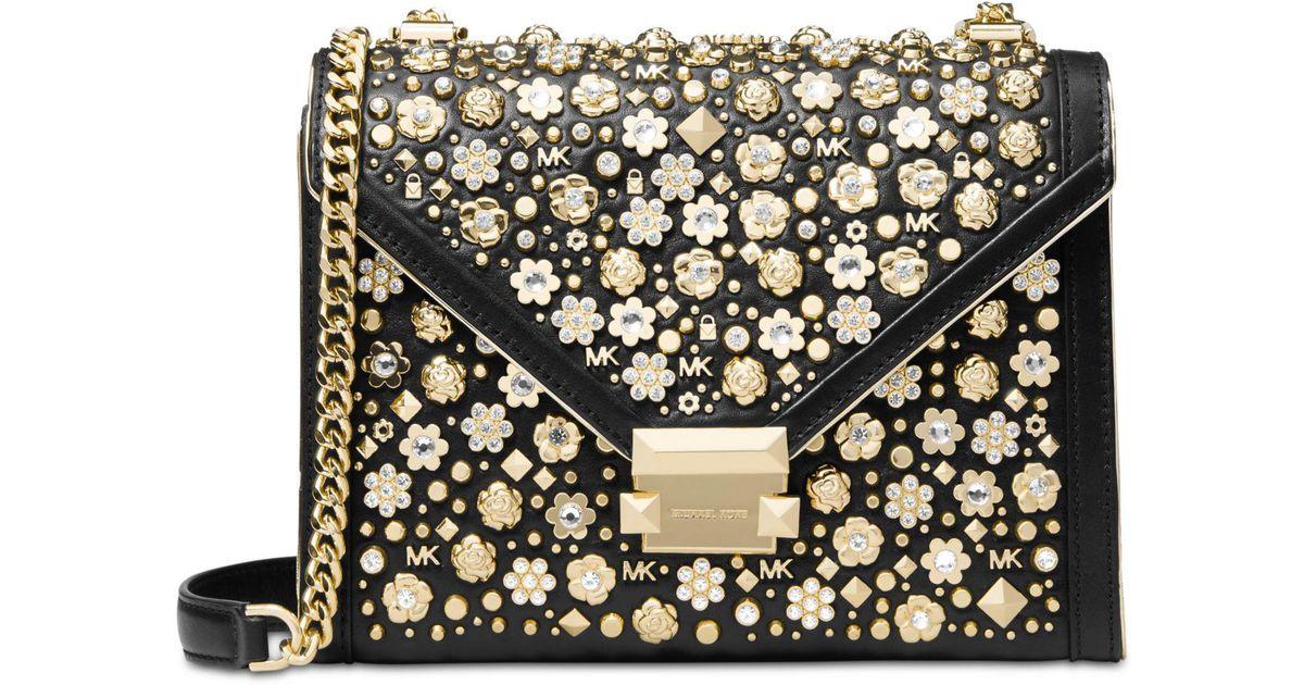 7430e36511ed Michael Kors Michael Floral Studded Limited Edition Whitney Shoulder Bag in  Black - Lyst