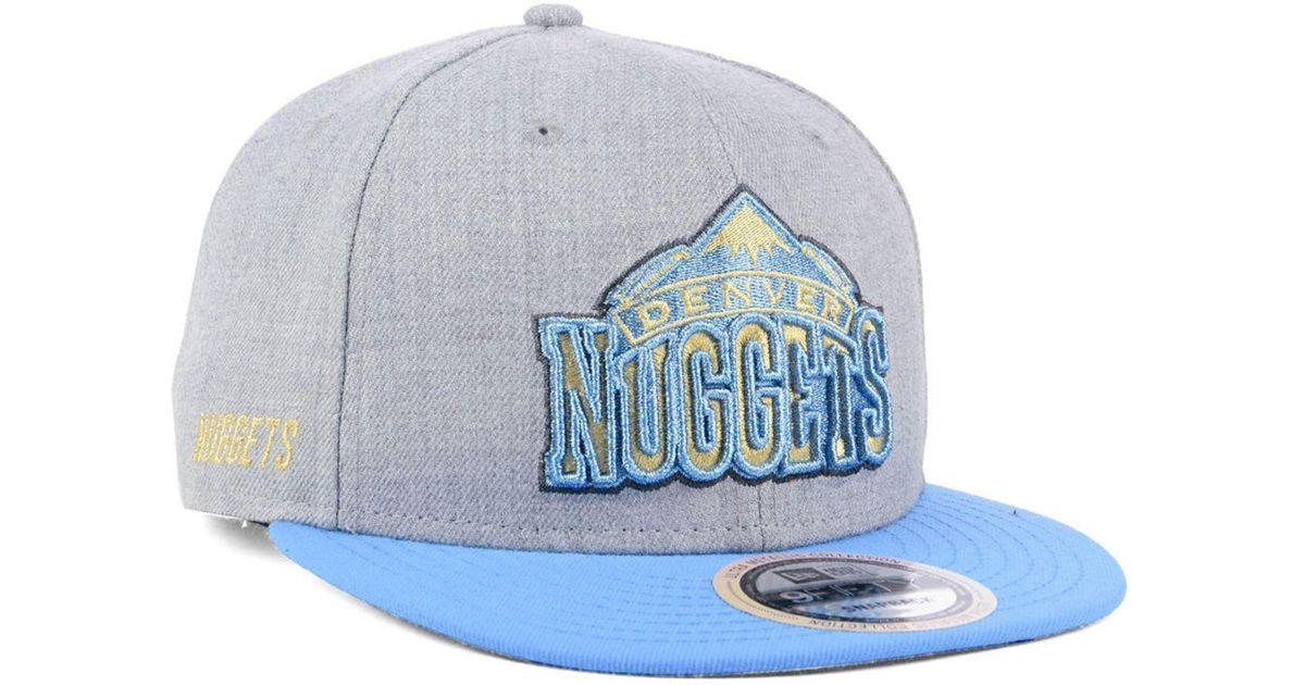 buy popular 72408 dce90 ... promo code for lyst ktz denver nuggets heather metallic 9fifty snapback  cap in blue for men