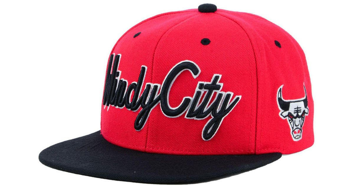 reputable site 39c63 32735 ... usa lyst mitchell ness chicago bulls town snapback cap in red for men  e04b4 16c2c
