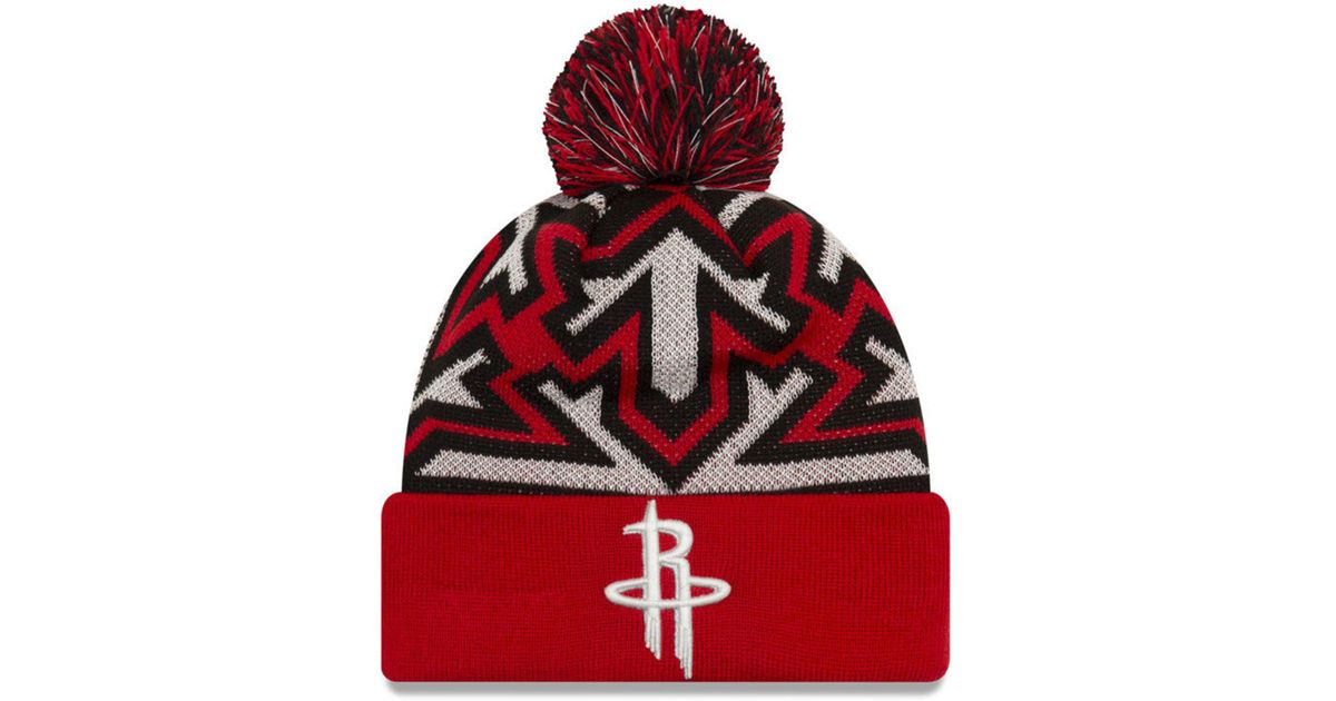 c2e13a1c774 Lyst - Ktz Houston Rockets Glowflake Cuff Knit Hat in Red for Men