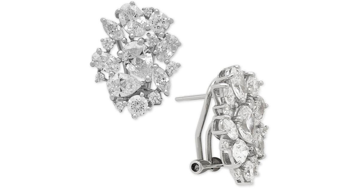 1b8c54e64 Macy's Swarovski Zirconia Cluster Stud Earrings In Sterling Silver in  Metallic - Lyst