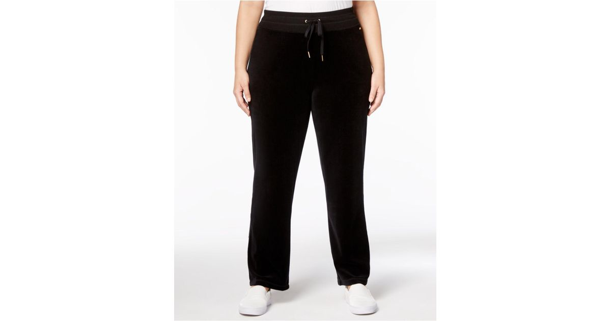 ac3db68977b Lyst - Calvin Klein Plus Size Velour Pants in Black