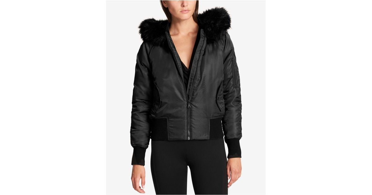 33f87f6ec DKNY Faux-fur-trim Down Bomber Jacket in Black - Lyst