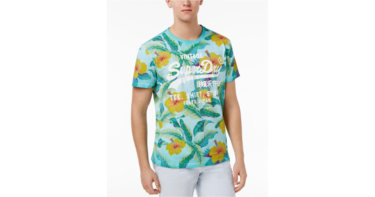 2afa70517 Superdry Surf Store Floral Graphic-print Logo Cotton T-shirt in Blue for Men  - Lyst