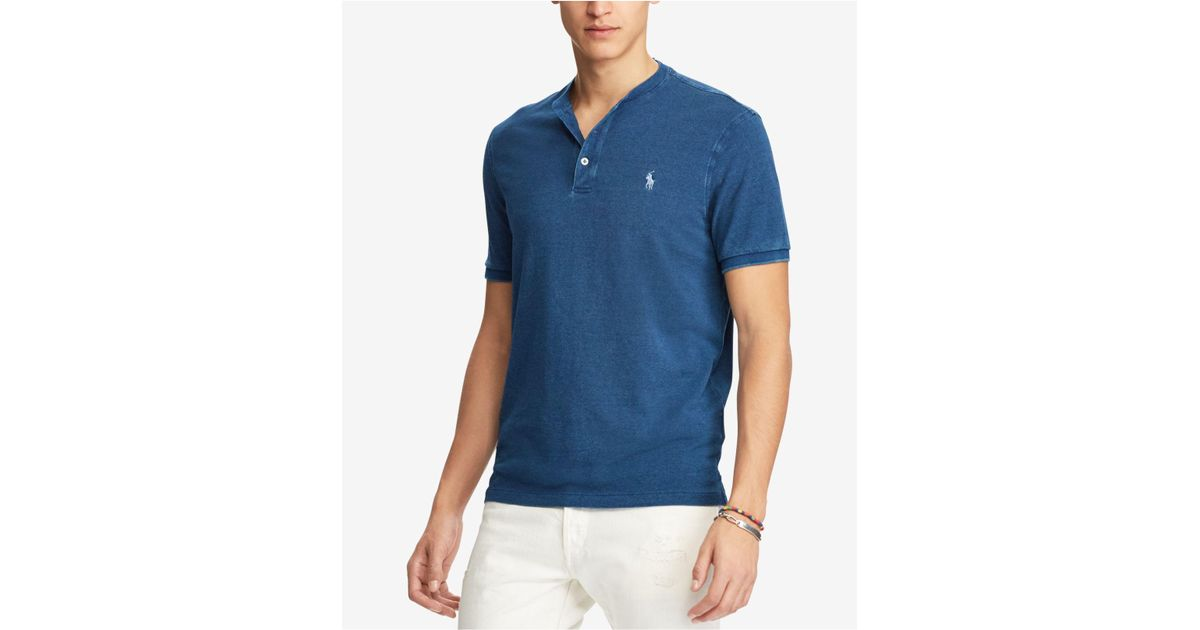 7575f105b Polo Ralph Lauren Featherweight Mesh Henley T-shirt in Blue for Men - Lyst