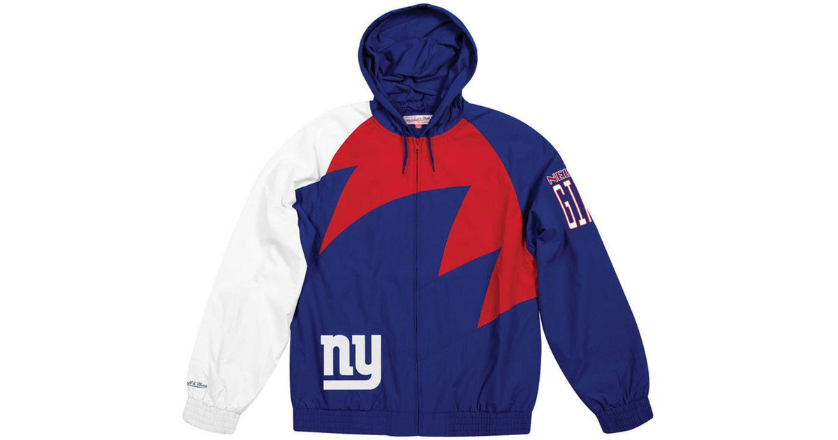 Hot Mitchell & Ness New York Giants Nfl Shark Tooth Jacket in Blue for  for sale
