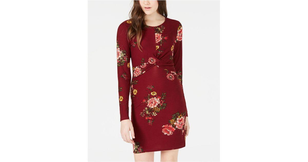 6a84714daf Derek Heart Planet Gold Juniors  Floral-print Twist Bodycon Dress in Red -  Lyst