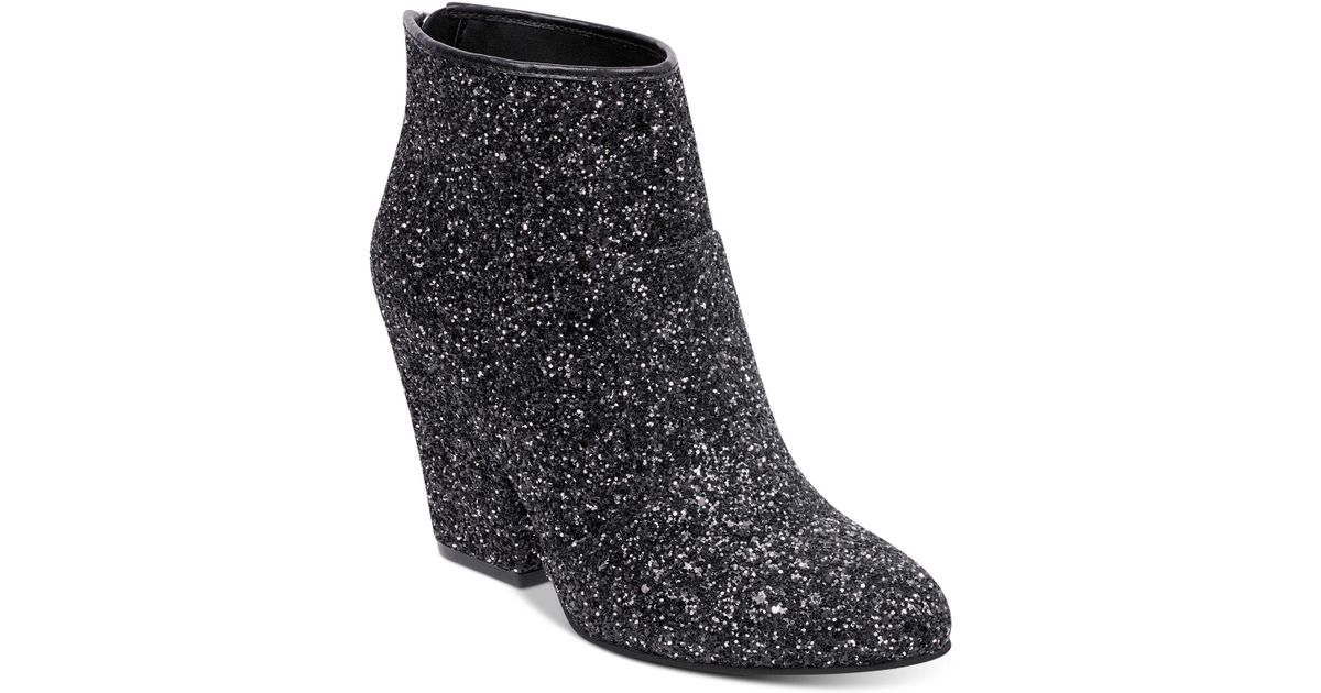 896dcfcb14fa G by Guess Womens Nite3 Glitter/textured Block Heels Booties in Black - Lyst