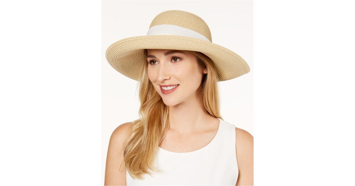 5a850576645e60 Nine West Packable Bow Scarf Floppy Sun Hat in Natural - Lyst