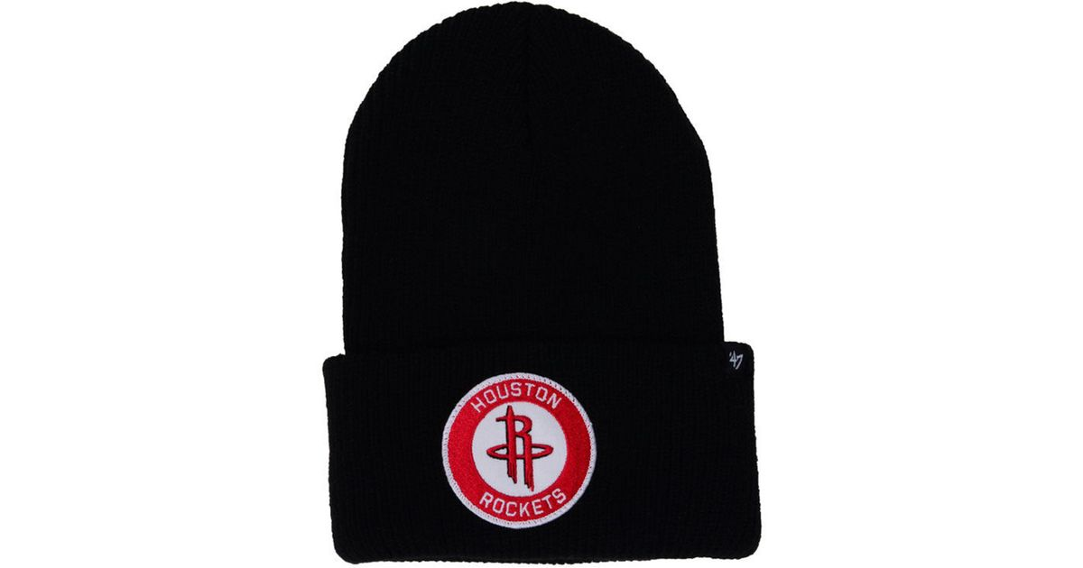 official photos 1bd1b 2cab9 ... spain clearance lyst 47 brand houston rockets ice block cuff knit hat  in black for men