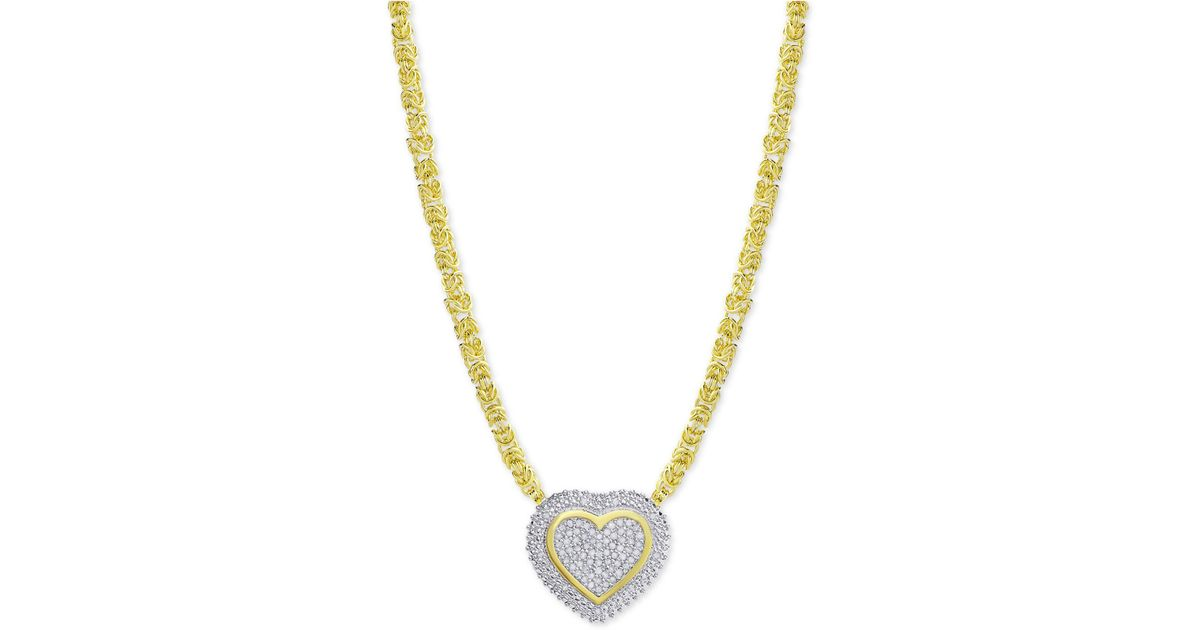 a0e4acdf439 Lyst - Macy's Diamond Heart Byzantine Pendant Necklace (1/2 Ct. T.w.) In 18k  Gold-plated Sterling Silver in Metallic