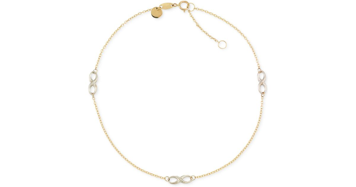 50198cffcbbded Macy's Two-tone Infinity Design Anklet In 14k Gold And 14k White Gold in  Metallic - Lyst