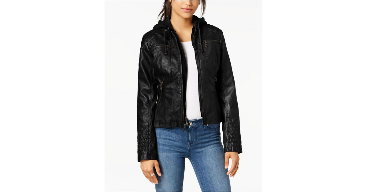 d36602729e9 Lyst - Maralyn   Me Juniors  Hooded Faux-leather Moto Jacket in Black