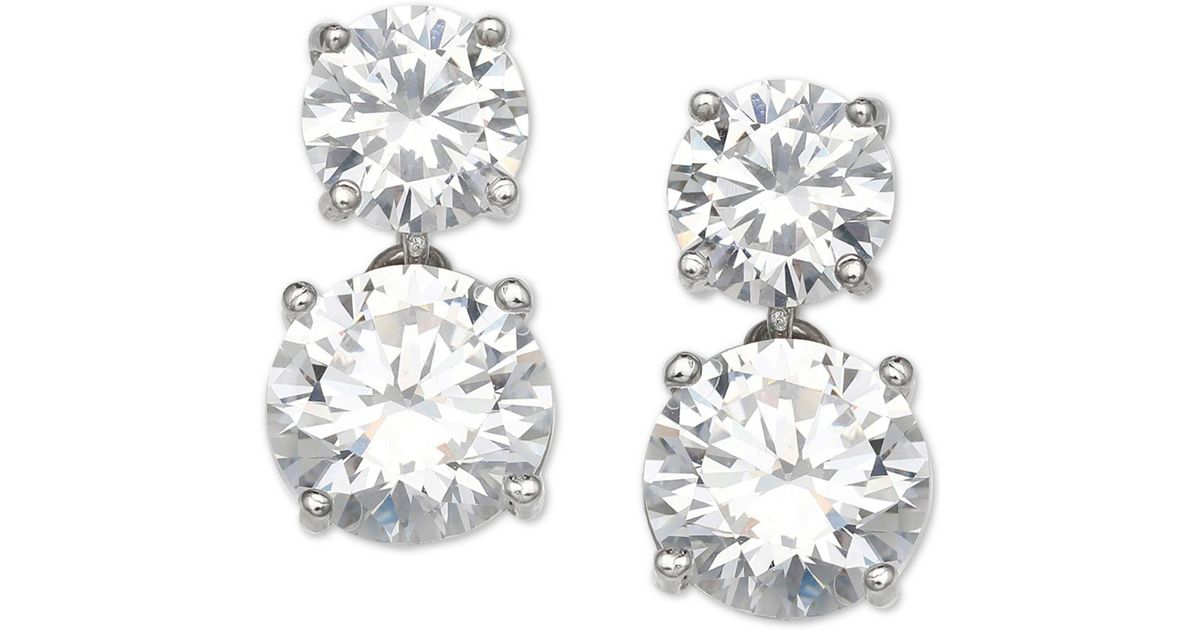 Lyst Giani Bernini Cubic Zirconia Drop Earrings In Sterling Silver Created For Macy S Metallic