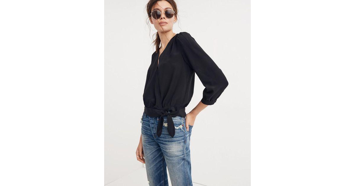 10c4c6a316143 Madewell Silk Wrap Top in Black - Lyst