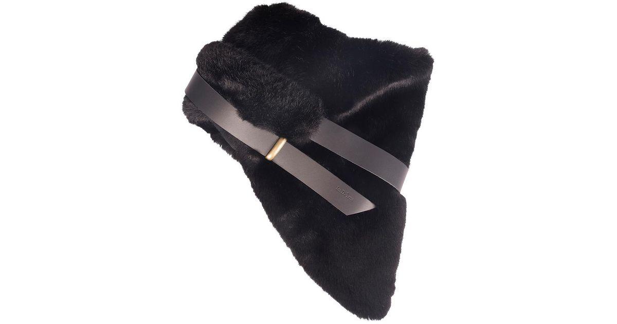 09d2c1334ec Lyst - Les D Arcs Black Faux Fur Strap Short Scarf in Black