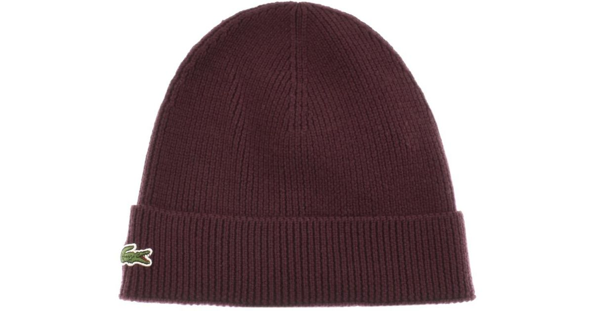 8de7ac7fa49 Lacoste Ribbed Beanie Burgundy in Purple for Men - Lyst