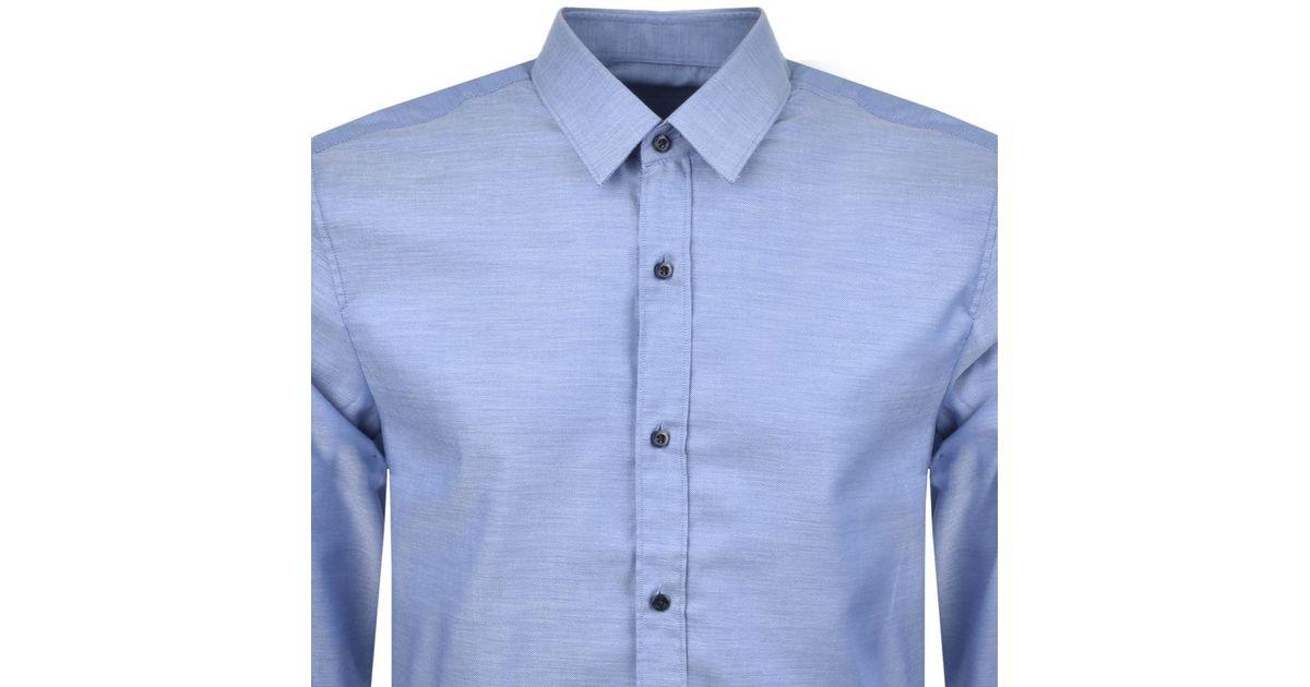 64e0be2c HUGO By Boss Elisha 01 Shirt Blue in Blue for Men - Lyst