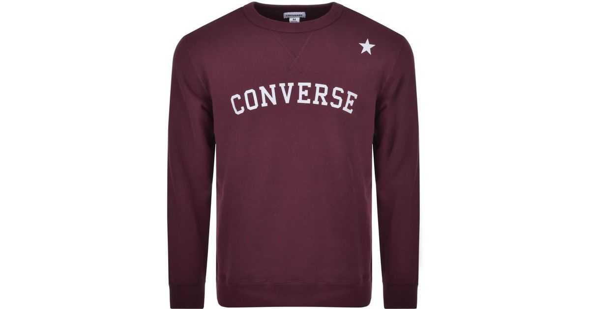 c1409c84b4ea Converse All Star Logo Sweatshirt Burgundy in Purple for Men - Lyst