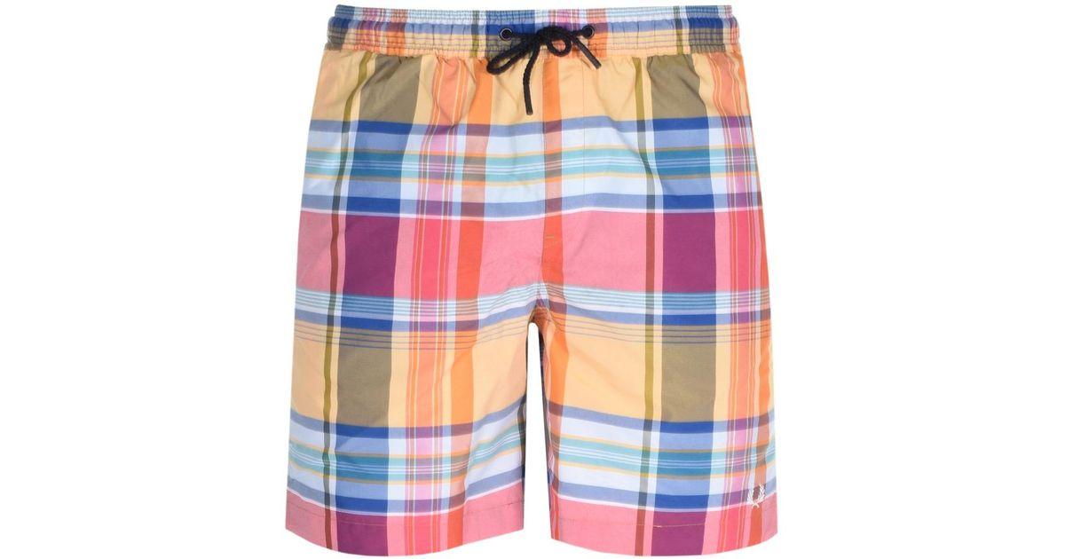 bc07534683 Fred Perry Madras Check Swim Shorts Orange in Orange for Men - Lyst