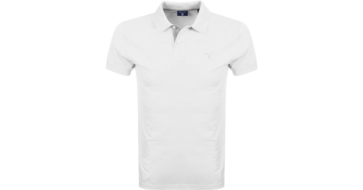 2f27e5d5ce47 Lyst - GANT Contrast Collar Rugger Polo T Shirt White in White for Men