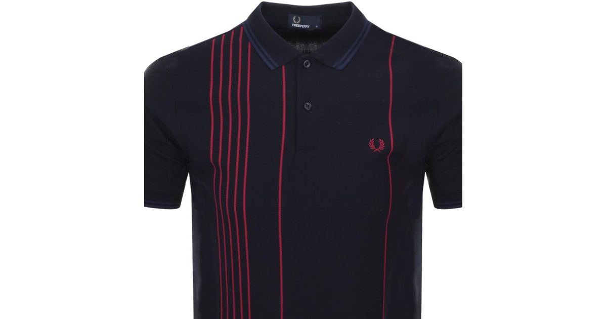 2567e2fd8 Lyst - Fred Perry Vertical Stripe Polo T Shirt Navy in Blue for Men