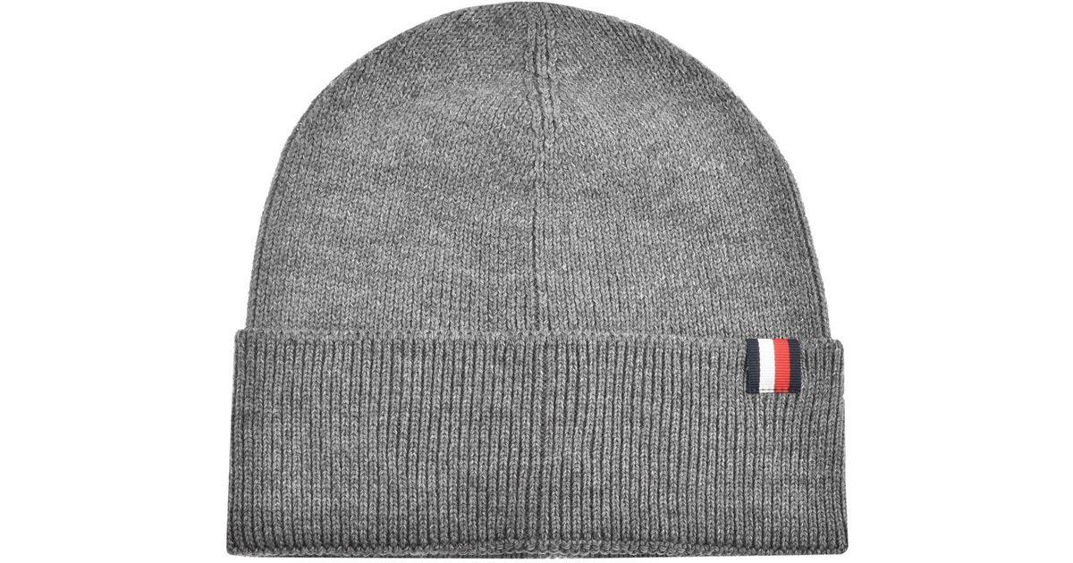0aa47b032 Tommy Hilfiger - Gray Logo Beanie Hat Grey for Men - Lyst