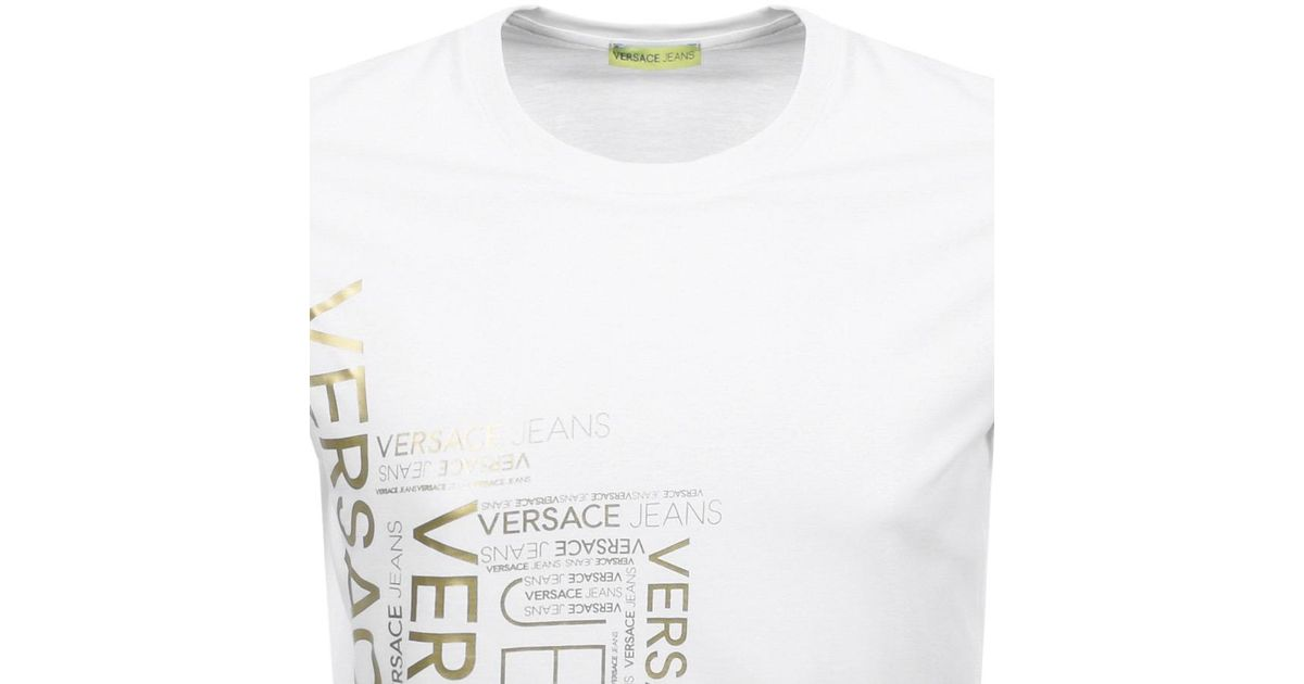 a63ee02cc Versace Jeans Crew Neck Foil Logo T Shirt White in White for Men - Lyst