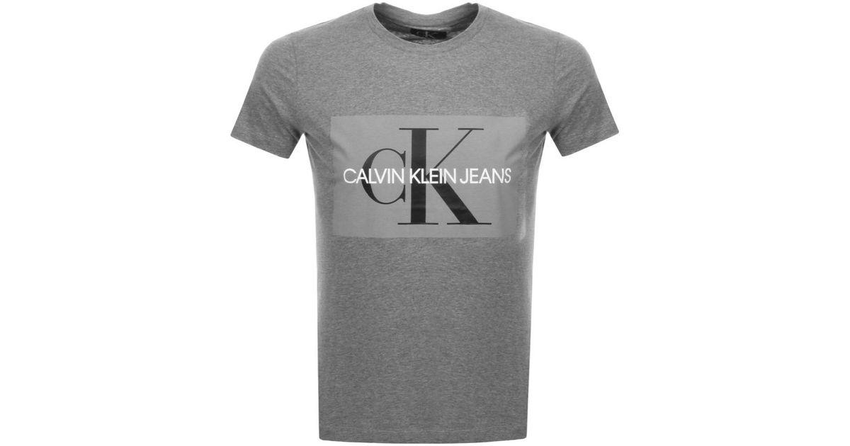 081c968871179c Calvin Klein Jeans Monogram Logo T Shirt Grey in Gray for Men - Lyst