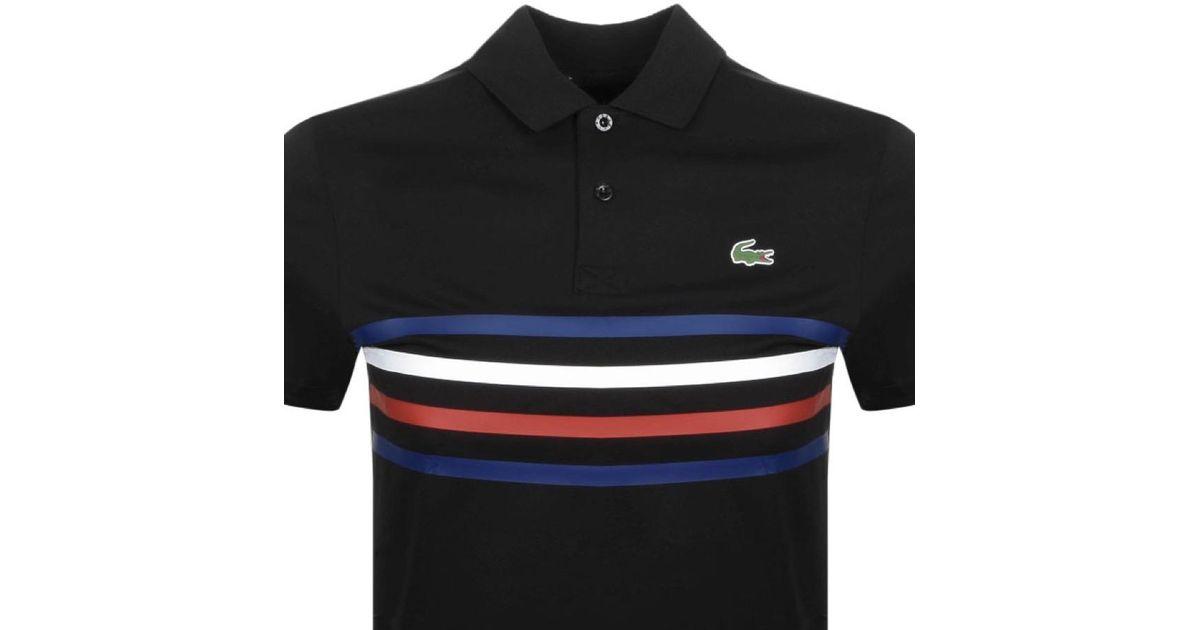 b54009bb Lyst - Lacoste Sport Colour Block Polo T Shirt Black in Black for Men