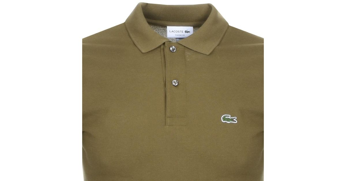 Khaki Sleeved For Lacoste Green Shirt T Men Lyst Polo Short JcTlF13uK