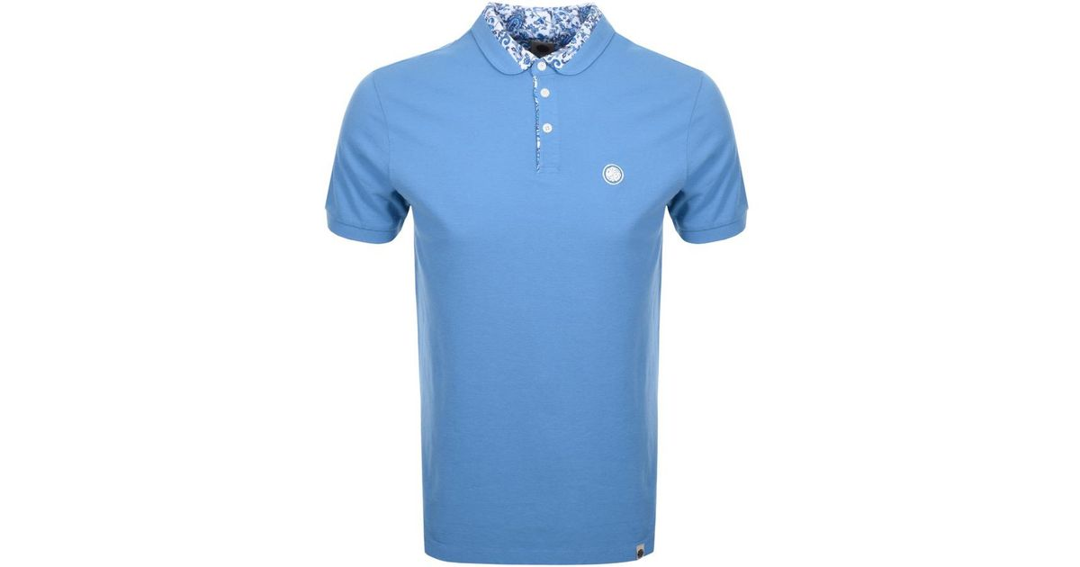 bf5cc8bf3ae Lyst - Pretty Green Ditsy Paisley Polo T Shirt Blue in Blue for Men