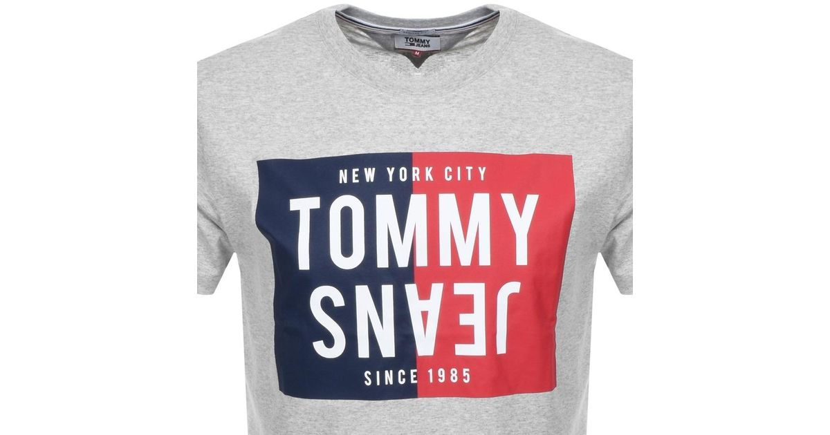478ad428eef68 Lyst - Tommy Hilfiger Box Logo T Shirt Grey in Gray for Men