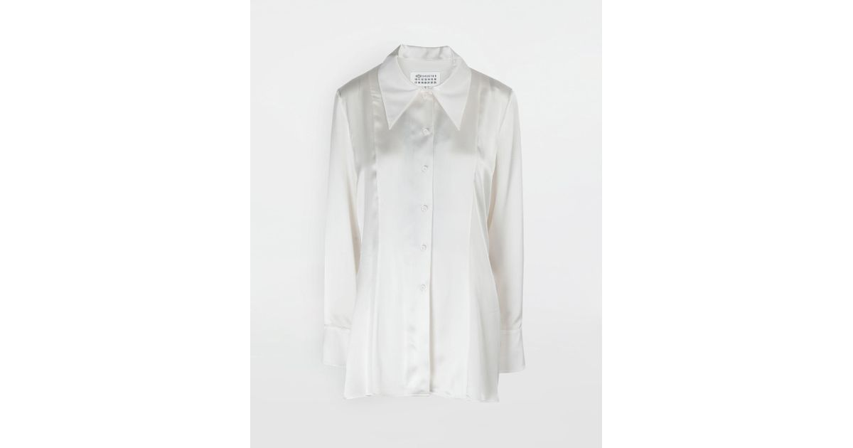 ee77b74999bb24 Maison Margiela Double Layer Lace Satin Shirt in White - Lyst