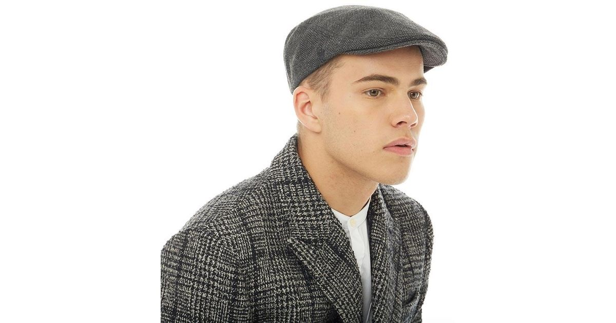 884d837a19 French Connection Baenjamin Flat Cap Black grey Herringbone in Black for  Men - Lyst