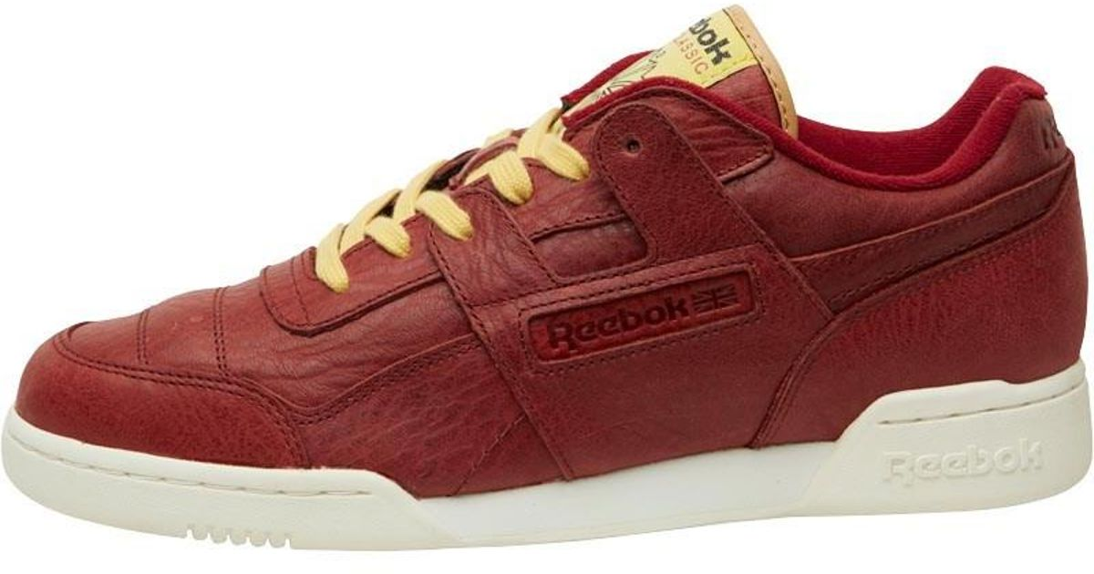 69cacaae6ea Reebok Workout Plus Boxing Gloves Rugged Maroon retro Yellow chalk for Men  - Lyst