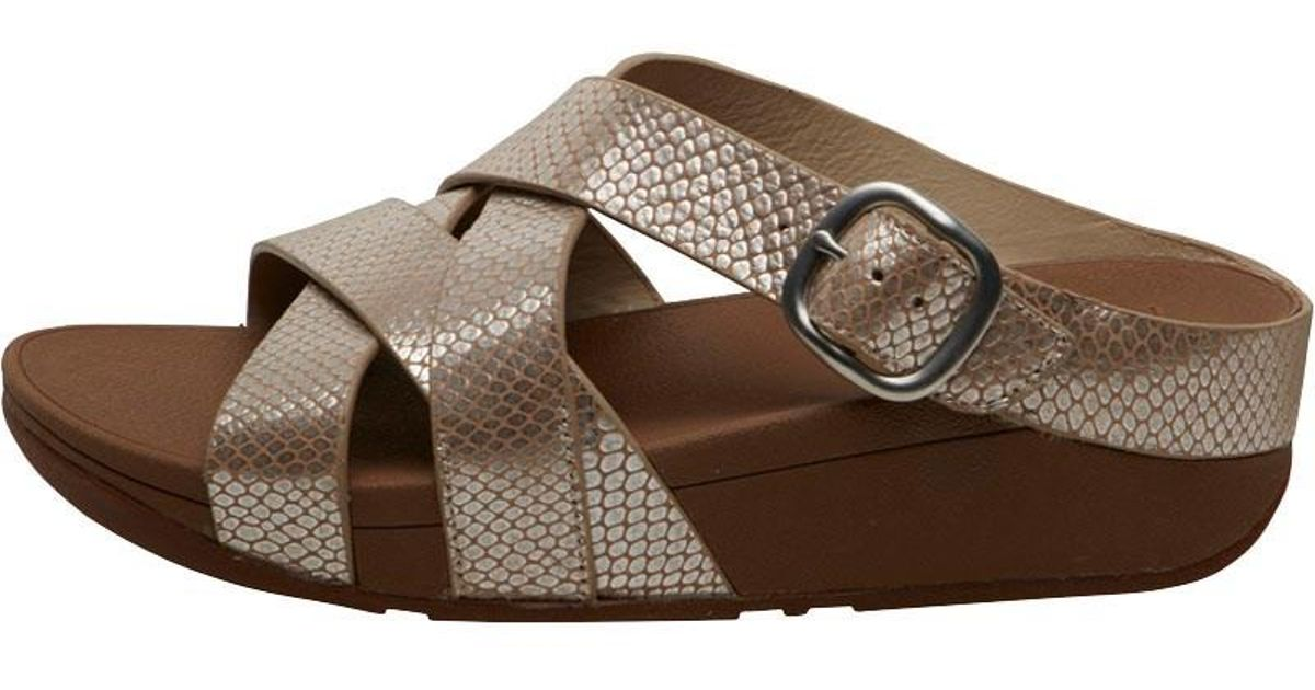 08fb434c707d52 Fitflop The Skinny Criss Cross Slides Silver Snake in Metallic - Lyst