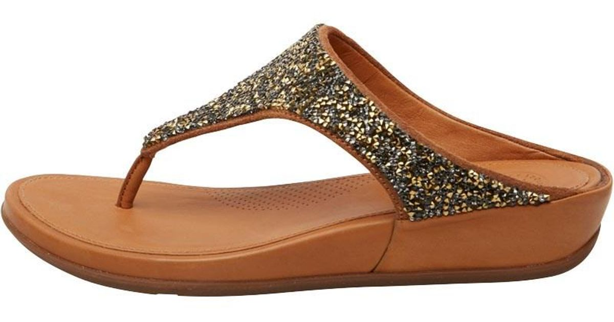 dee1cad477fa7 Fitflop Banda Crystal Toe Post Sandals Bronze in Metallic - Lyst