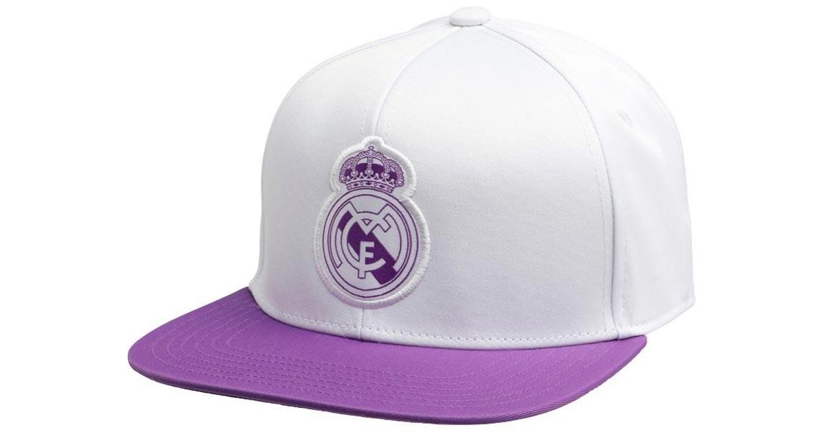 58a85a3f0203f adidas Rmcf Real Madrid Flat Cap Crystal White ray Purple in White for Men  - Lyst